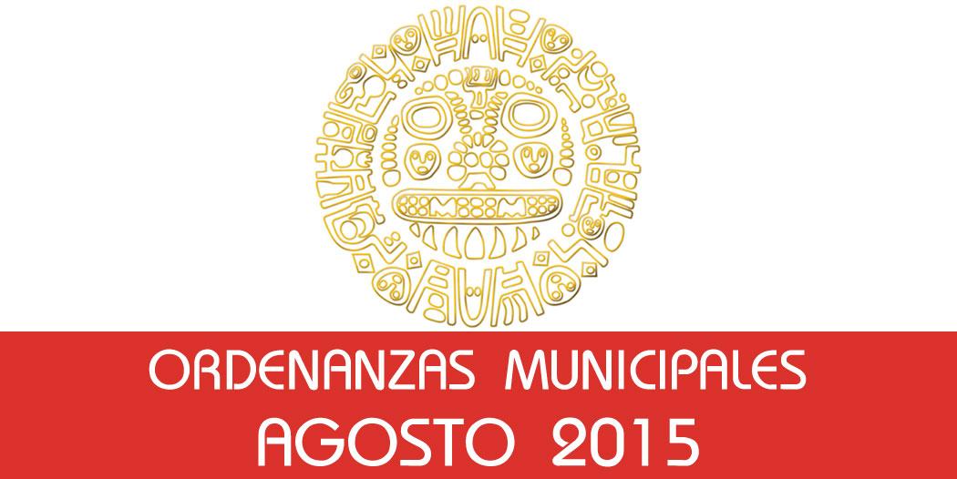 Ordenanzas Municipales – Agosto 2015