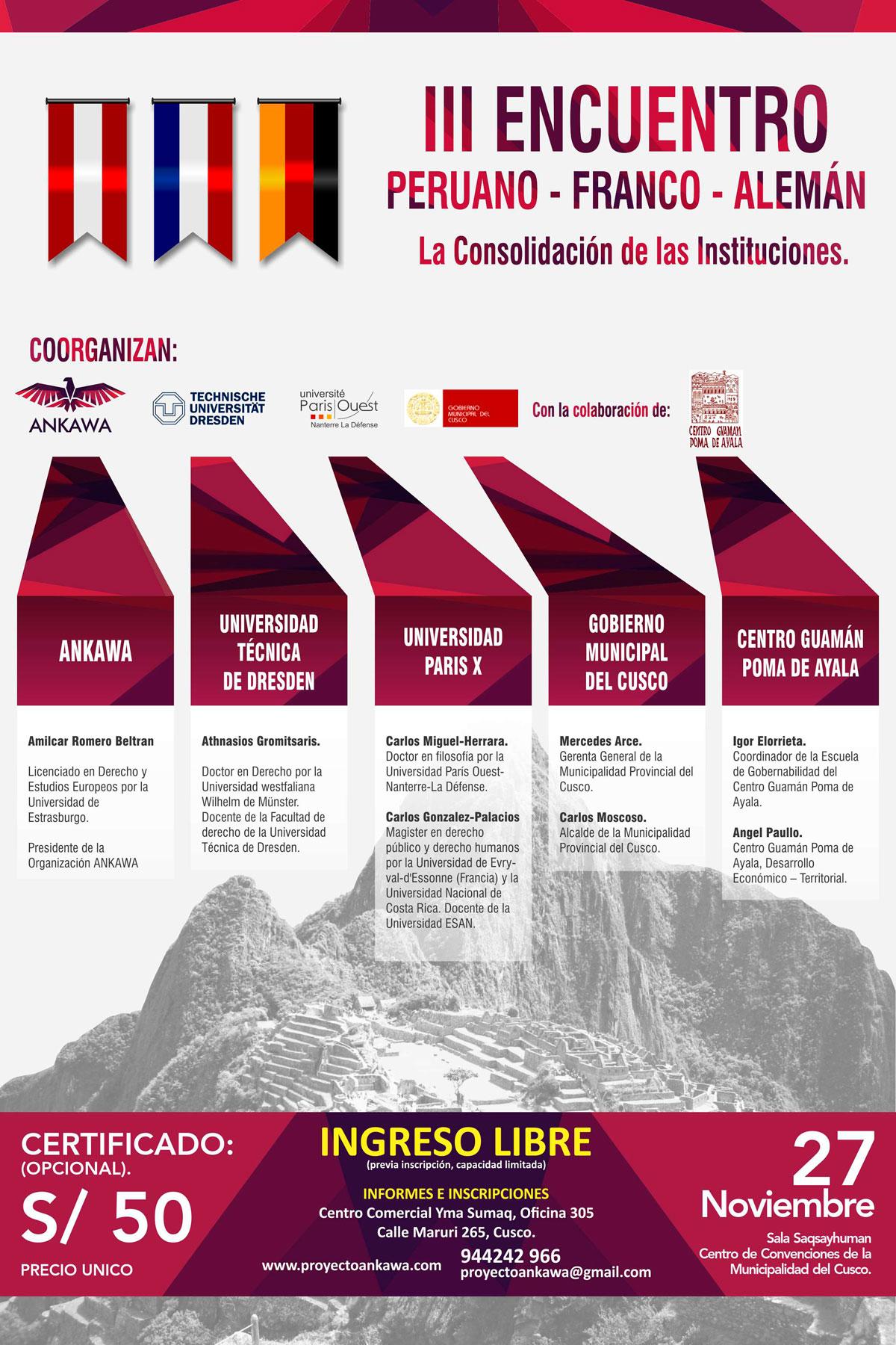 III Encuentro Peruano – Franco – Alemán Sobre la Consolidación de las Instituciones
