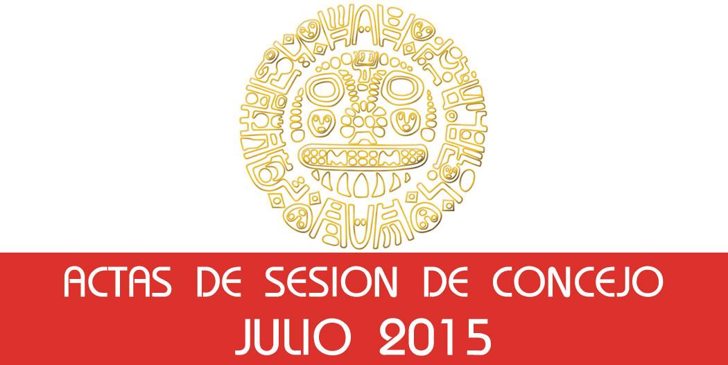 Actas de Sesión de Concejo – Julio 2015
