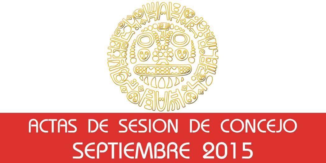 Actas de Sesión de Concejo – Septiembre 2015