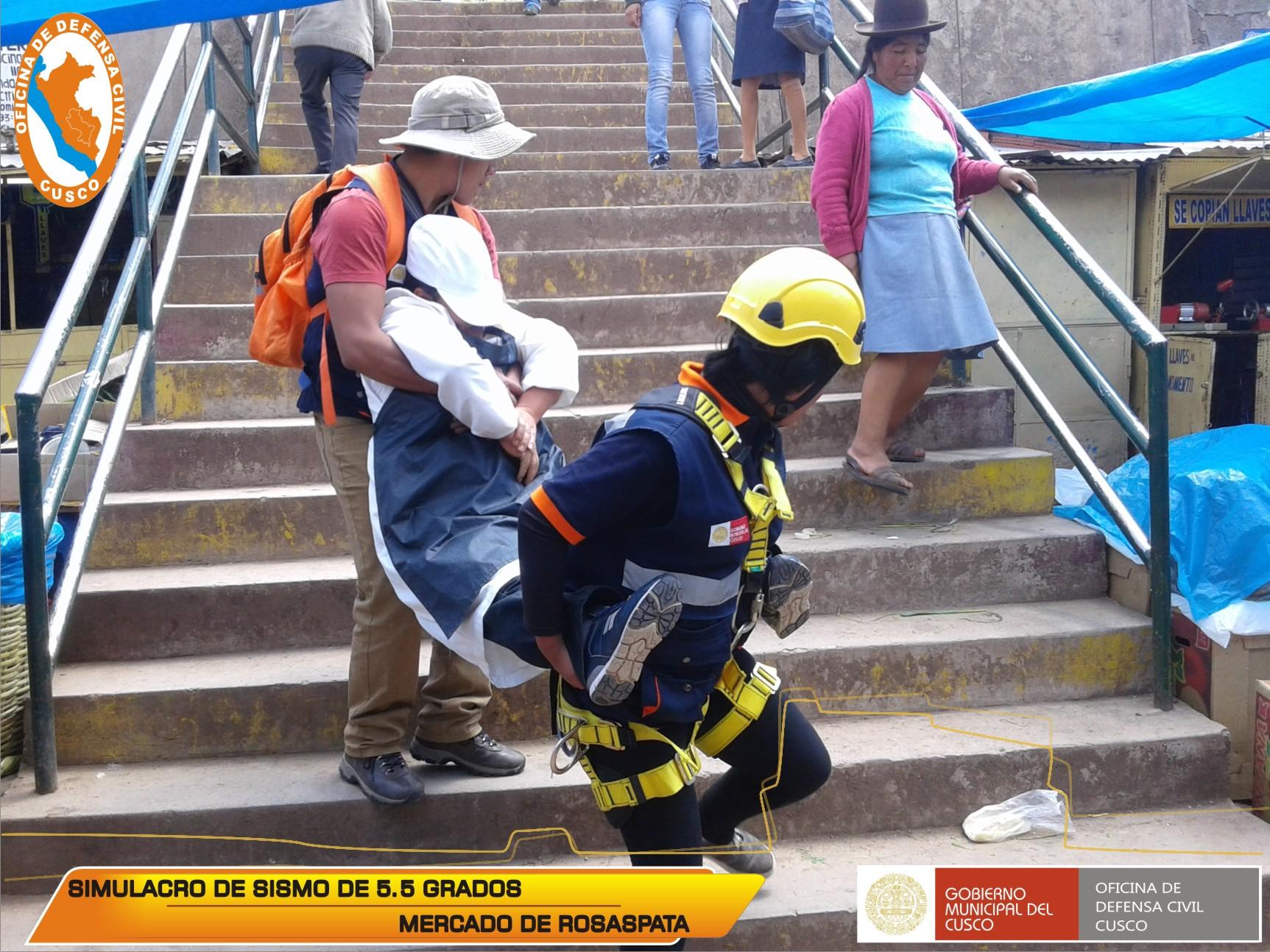 COMERCIANTES DEL MERCADO DE ROSASPATA PARTICIPARON DE SIMULACRO DE SISMO