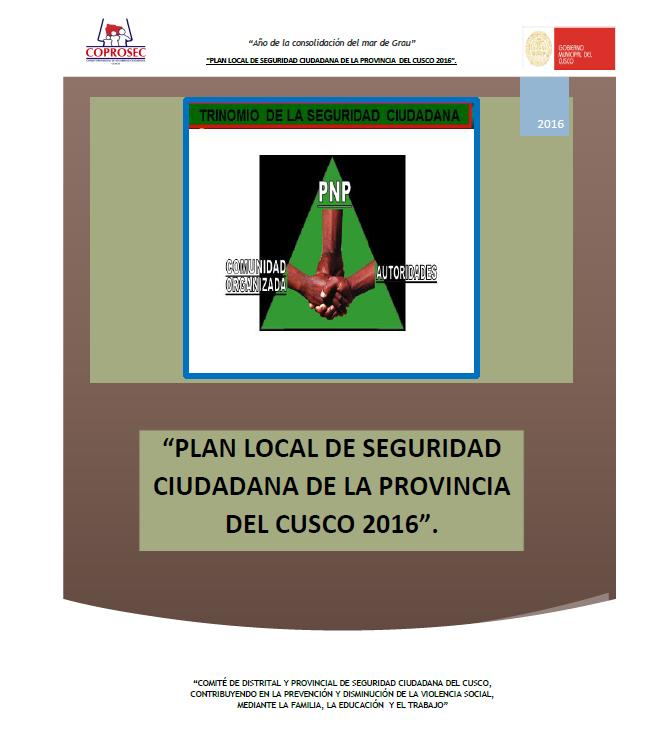 PLAN PROVINCIAL DE SEGURIDAD CIUDADANA