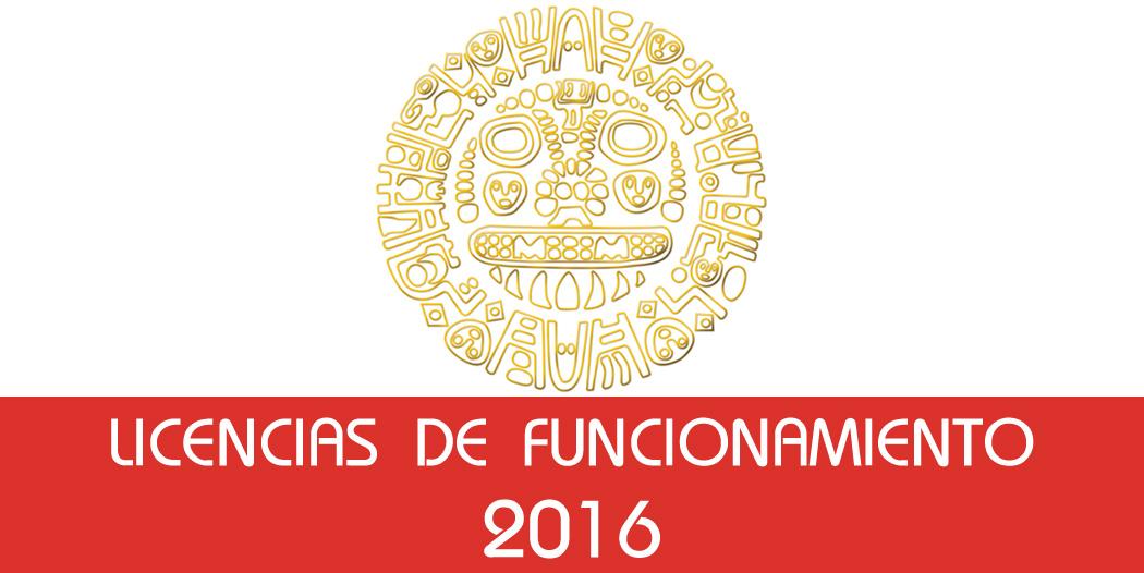 Licencias de Funcionamiento – 2016