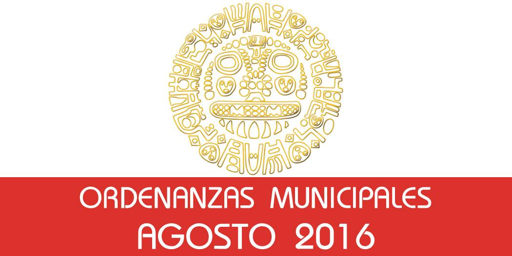 Ordenanzas Municipales – Agosto 2016