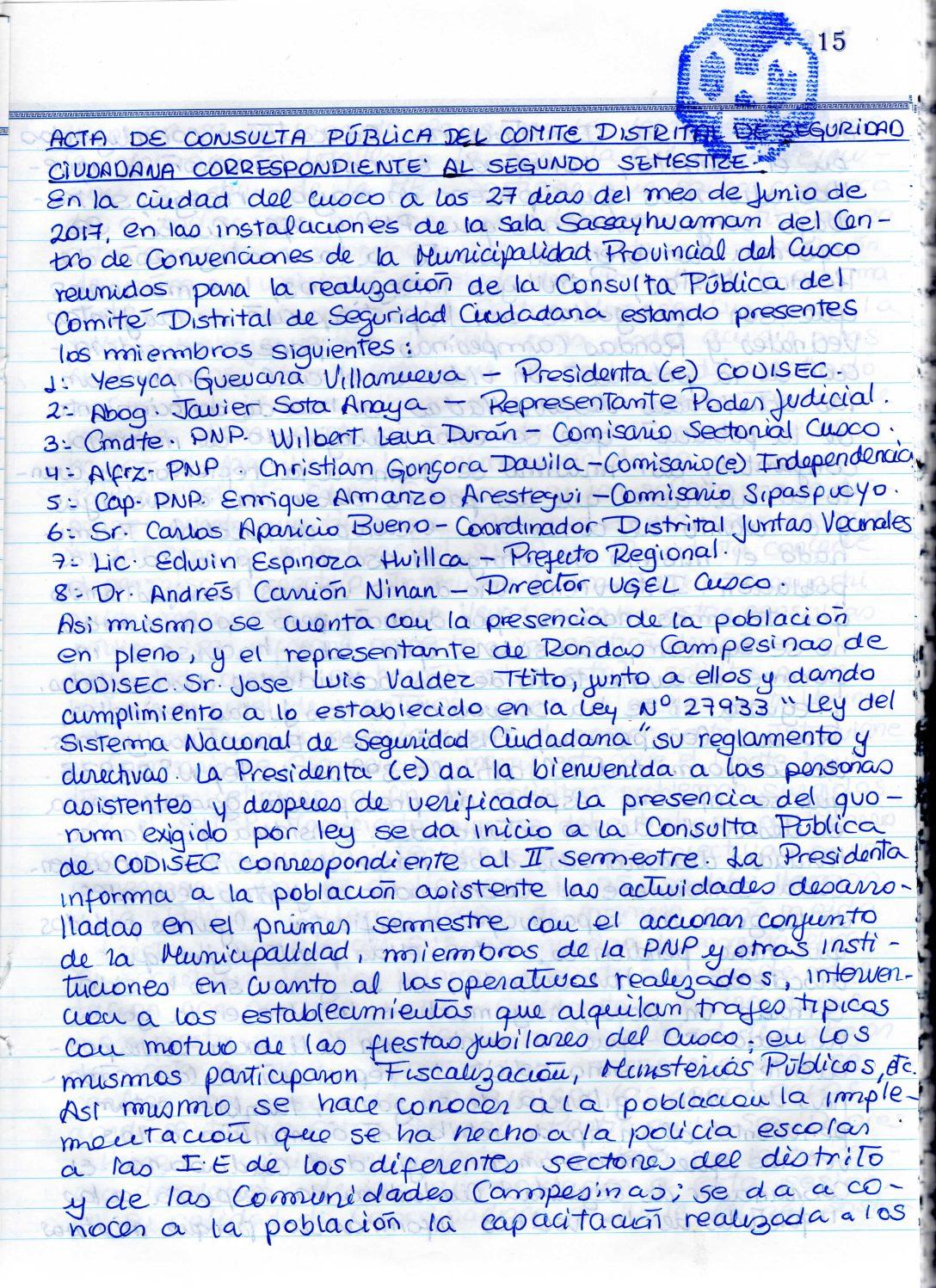 SEGUNDA CONSULTA PUBLICA CODISEC CUSCO