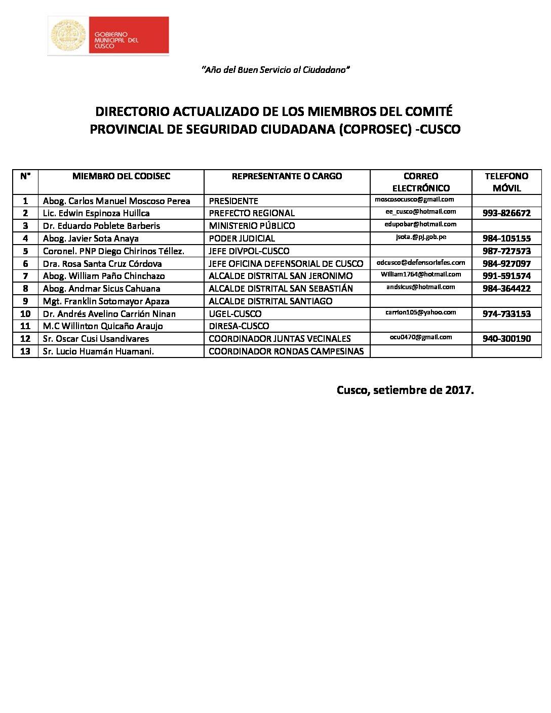 DIRECTORIO COPROSEC ACTUALIZADO SETIEMBRE 2017