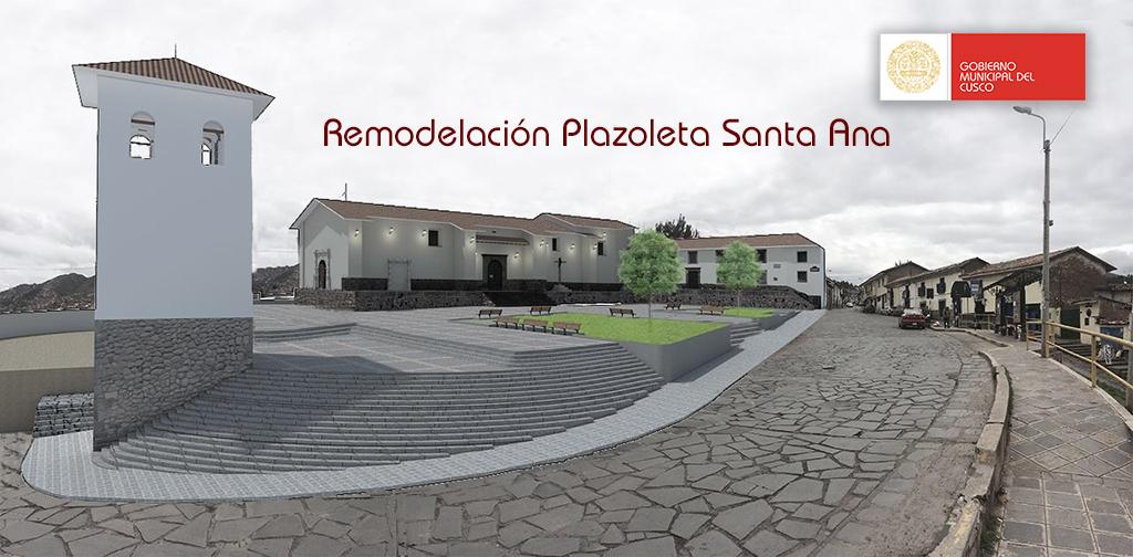 Como quedará la Plazoleta Santa Ana tras remodelación que ejecuta la Municipalidad del Cusco