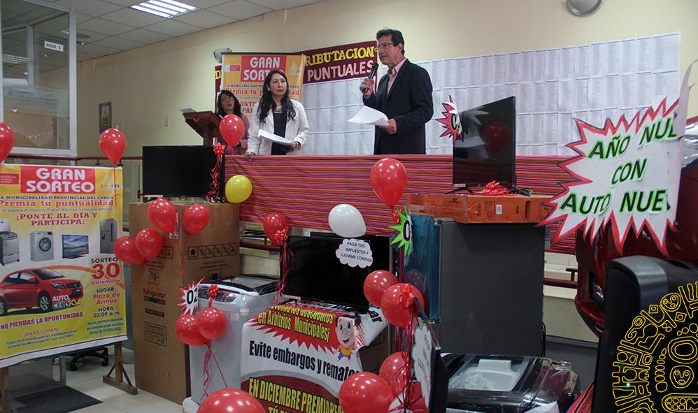 MUNICIPALIDAD DE CUSCO ENTREGARÁ  PREMIOS A CONTRIBUYENTES PUNTUALES ESTE  VIERNES  12 DE ENERO.