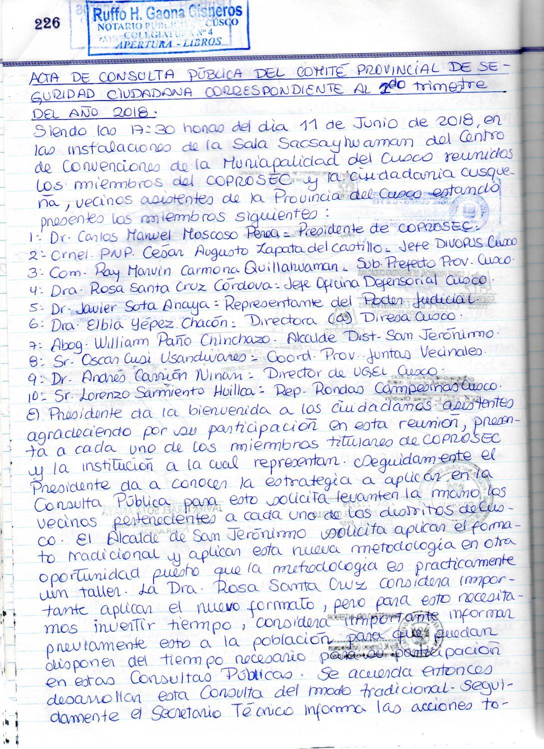 SEGUNDA CONSULTA PUBLICA COPROSEC CUSCO 2018