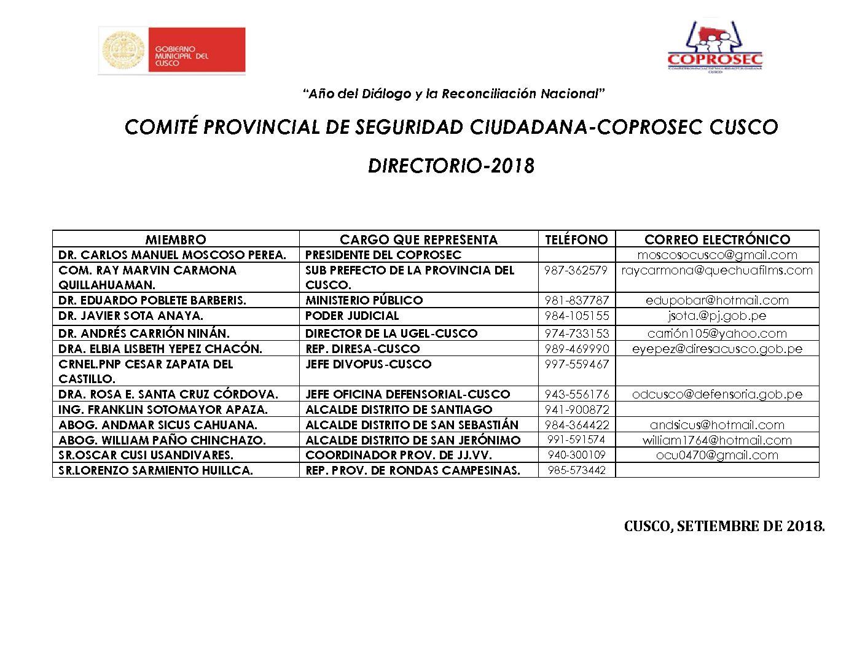 DIRECTORIO COPROSEC CUSCO SETIEMBRE 2018