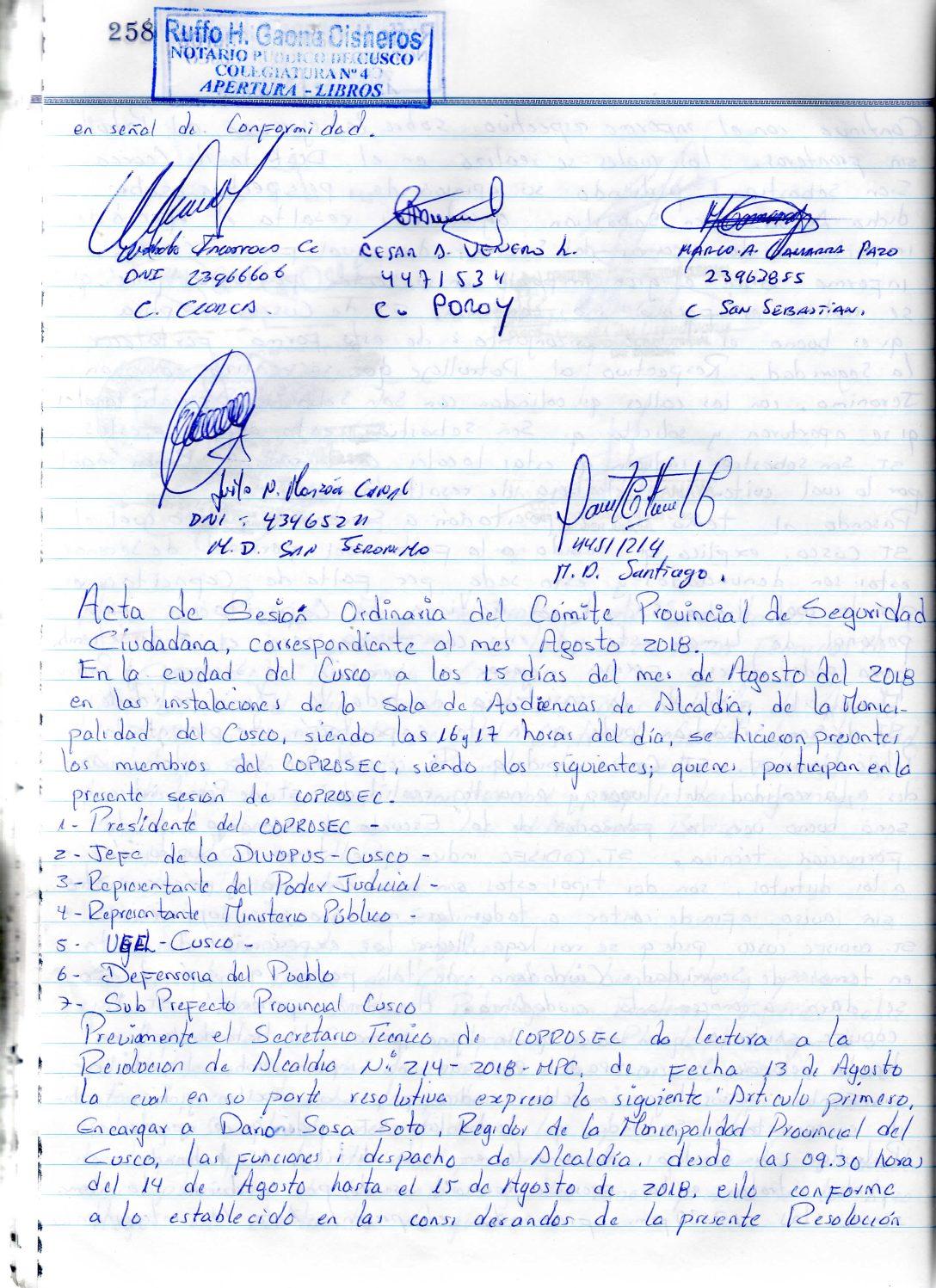 SESION ORDINARIA COPROSEC CUSCO AGOSTO 2018