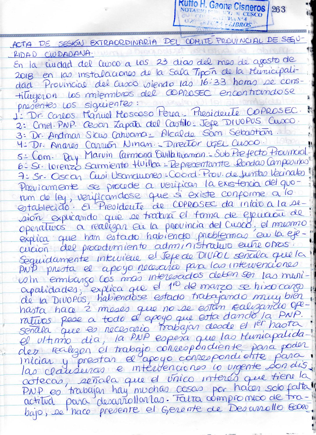 SESION EXTRAORDINARIA COPROSEC CUSCO AGOSTO 2018