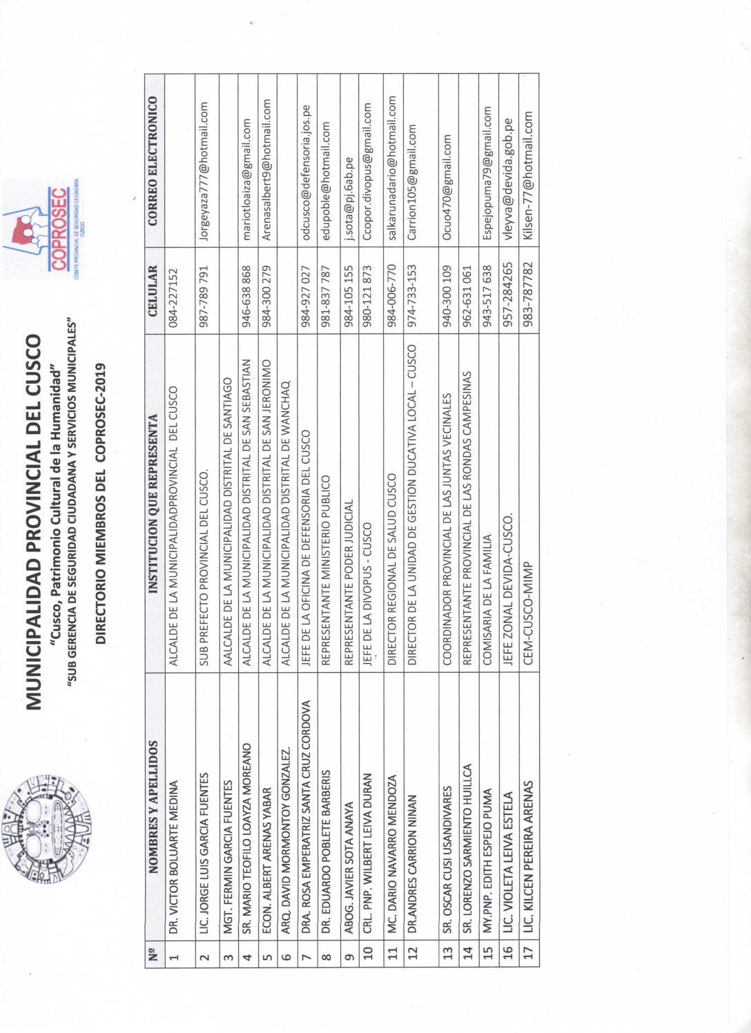 DIRECTORIO COPROSEC CUSCO PRIMER TRIMESTRE 2019