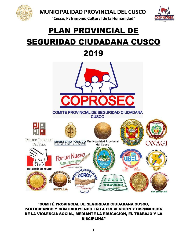 PLAN DE SEGURIDAD CIUDADANA DE LA PROVINCIA DEL CUSCO 2019