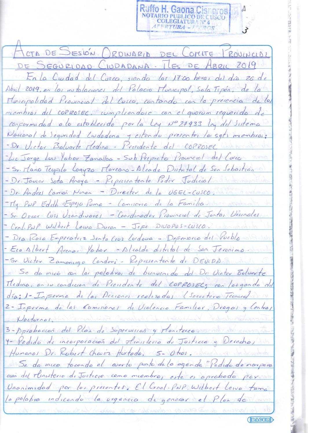 SESION ORDINARIA COPROSEC ABRIL 2019
