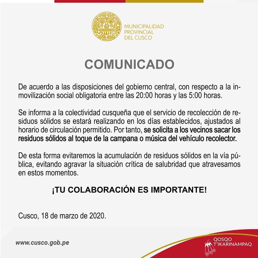 De acuerdo a las disposiciones del gobierno central, con respecto a la inmovilización social obligatoria entre las 20:00 horas y las 5:00 horas…