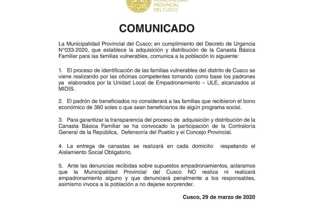 En cumplimiento del Decreto de Urgencia N°033-2020, que establece la adquisición y distribución de la canasta básica familiar…