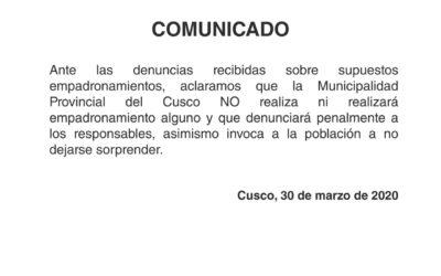 Municipio Provincial de Cusco aclara sobre supuesto empadronamiento…