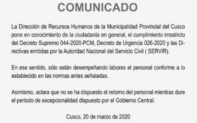 La Dirección de Recursos Humanos de la Municipalidad Provincial de Cusco pone en conocimiento…
