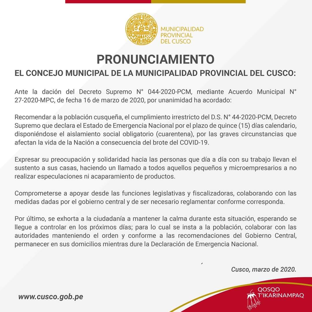 Pronunciamiento – El Concejo Municipal de la Municipalidad Provincial del Cusco