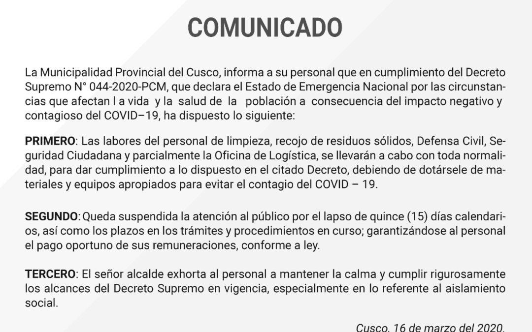 Comunicado Municipio Provincial de Cusco – Cumplimiento de D.S. 044-2020