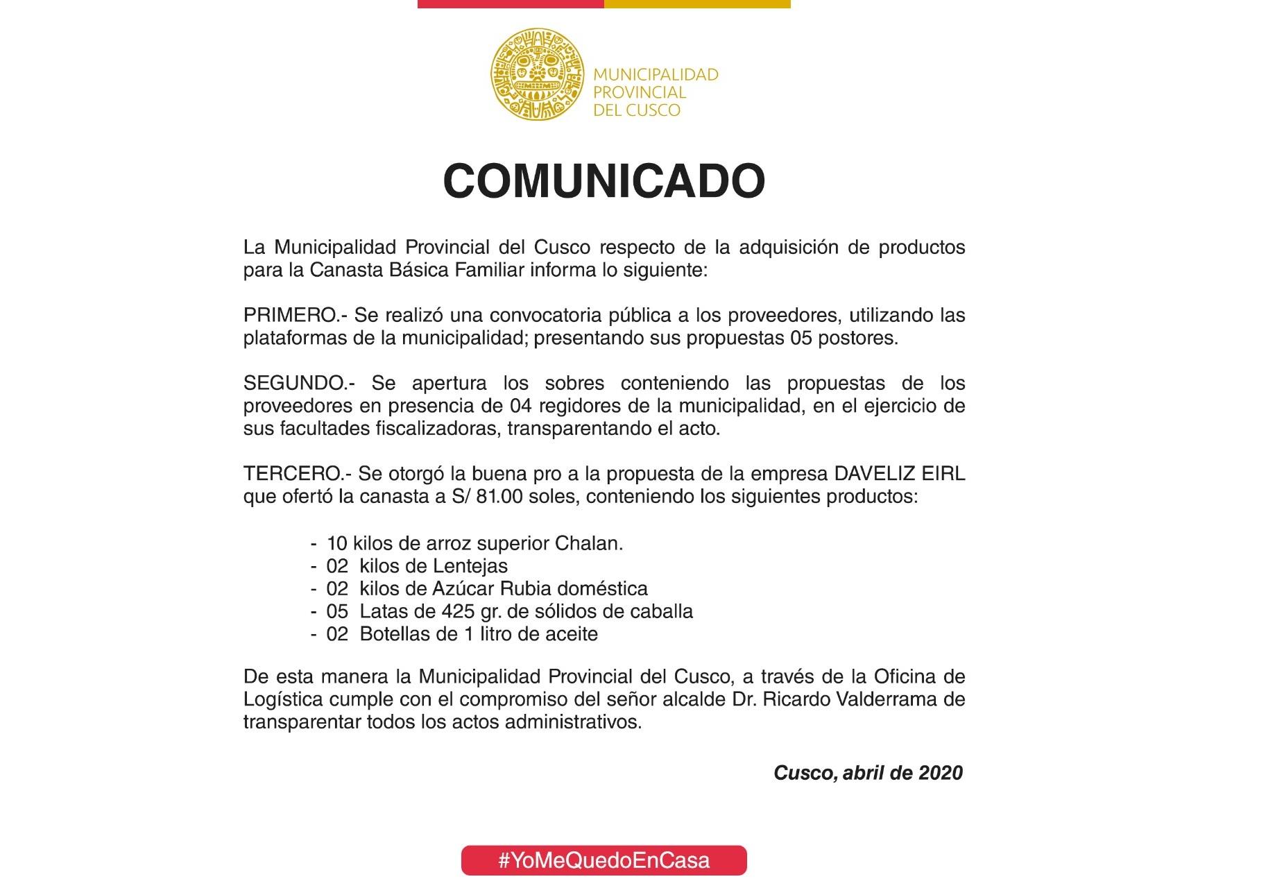 La Municipalidad Provincial del Cusco, respecto de la adquisición de productos…